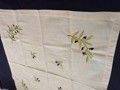 Lovely NWOT Ecru LINEN TABLECLOTH w/ OLIVE BRANCH Motif 35x33.75 in Embroidered