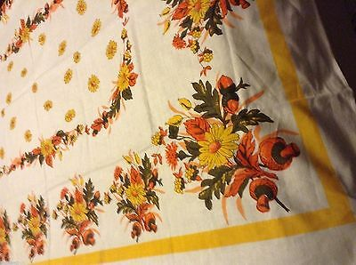 Lovely NWOT NOS Vintage TABLECLOTH 67x51in Orange & Yellow Flowers