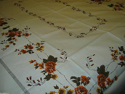 Lovely ROSES Cotton/Linen TABLECLOTH Orange Brown Harvest Colors 52X70 inch NWOT