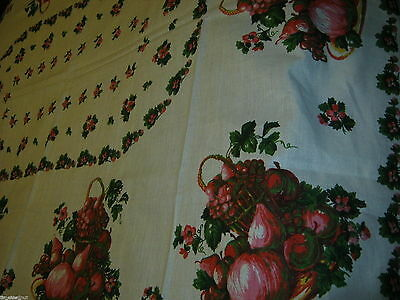 LOVELY Vintage LINEN TABLECLOTH Fruit & Flowers 68X52in NWOT RED /PINK/GREEN