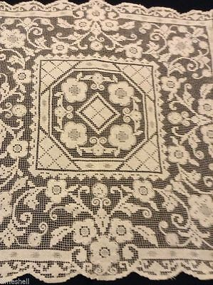 LOVELY Vintage NETTED TABLECLOTH TEACLOTH 27.5 in sq Flowers DOILY Gently Used