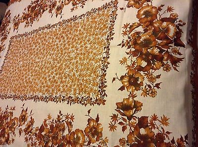 Nice NWOT NOS Lovely LINEN TABLECLOTH 67x52 inch Flowers EARTH TONES & OFF-WHITE