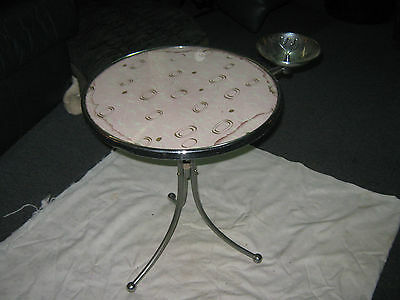 A Beautiful 1950's Mid Century Retro Chrome Glass Top Smokers Side Table