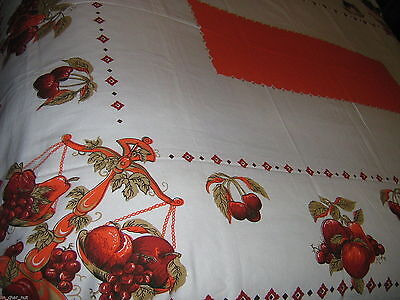Lovely Cotton TABLECLOTH Fruits RED & ORANGE Harvest Colors 52X68 inch Unused