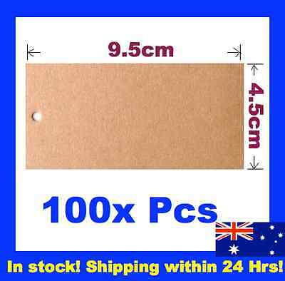 100 Brown Kraft Swing Tags Gift Wedding Bomboniere Garment Label Gun 9.5x4.5cm