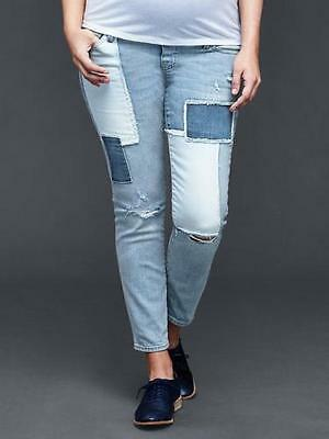 Gap Maternity NWT Blue Denim Patchwork Girlfriend Full Panel Jeans 6 8 $90