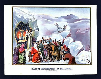 1900 Print - Ireland Atlas Illustration - Mass on the Mountains in Penal Days