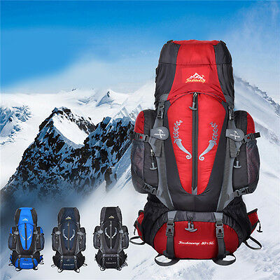 80L+5L Outdoor Backpack Hiking Bag Camping Travel Waterproof Mountaineering Pack