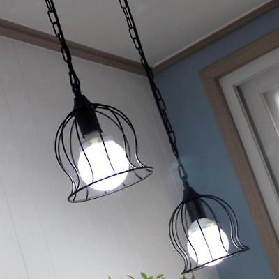E27 Rustic Vintage Metal Ceiling Pendant Light Wired Chain Hanging Lampshade