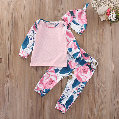 3Pcs Newborn Baby Girl Long Sleeve Tops +Floral Pants Hat Outfits Set Clothes