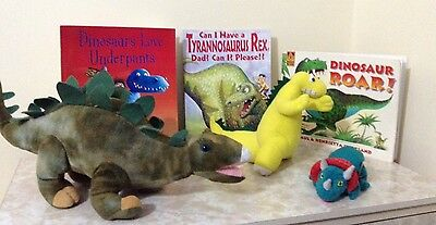 Dinosaurs story sack with 4 books ( 1 new & 3 used ) and a new storage bag