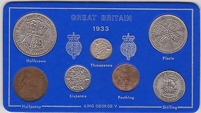 1933 George V Part Set Of 7 Coins In Good Fine Condition In Display Pack
