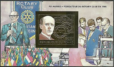 Chad Paul Harris Rotary Club Imperforated Gold Foil S/S ** 1983  Unknowed Issue