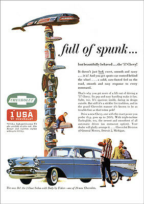 Chevrolet 57 Bel Air Retro A3 Poster Print From Classic Advert 1957