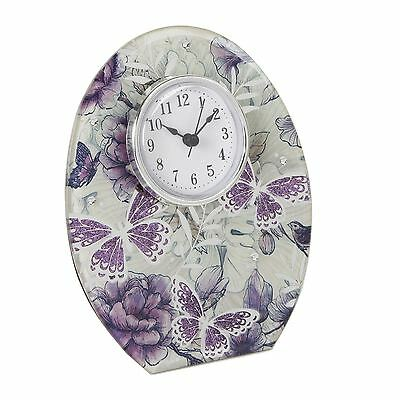 Sophia Lilac Butterfly Collection with Glitter & Mirror Glass Mantel Clock