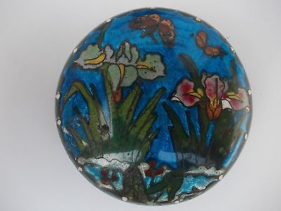 Cloisonne Trinket/Pill Box with Flowered Lid