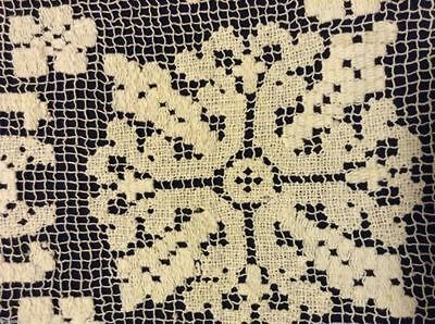 Vintage NETTED LACE DOILY 23x12 in Lovely Condition HAND MADE