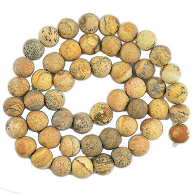 Hot Wholesale Fashion Cabochon Matte Picture Jasper Gemstone Loose Beads 8mm
