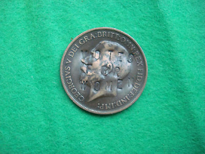 Rare 1911 George V Penny With Votes For Women Counterstamp Suffragette