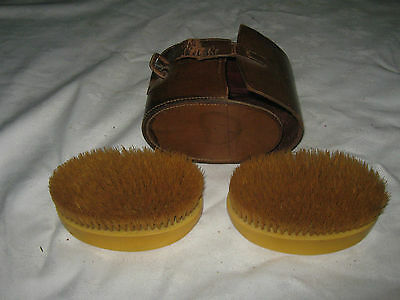 A Vintage Leather Cased Xylonite Clothes Brush Travel Set