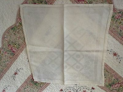 "6 DOUBLE DAMASK NAPKINS 19x18"" Ivory LATTICE & FLOWER Openworked hems Mitred"