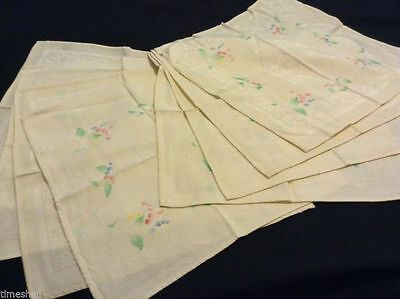 8 Gently Used DOUBLE DAMASK NAPKINS Yellow w Hand-painted Flowers 15X15in PRETTY