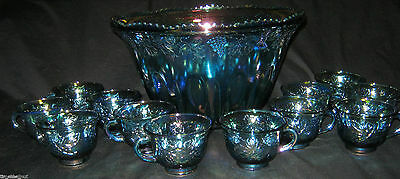 LOVELY Vintage INDIANA Carnival Glass GLASS PUNCH BOWL + 12 CUPS Harvest Blue