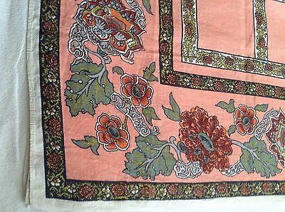"""NICE Gently used LINEN TABLECLOTH  Dark & Light peach plus & Floral Motif 67x50"""""""