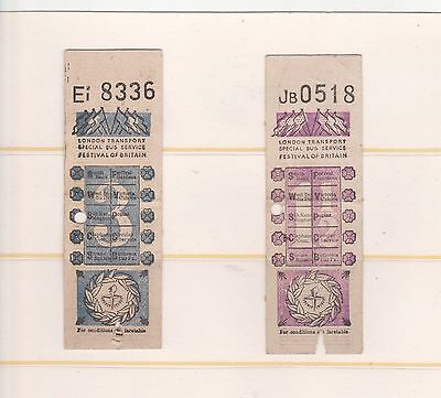 Transport, Festival Of Britain Two  Special Issue Bus Tickets, 1951