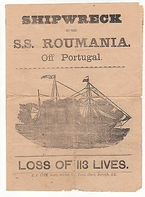 Shipping, Leaflet, Shipwreck Of The S.s. Roumania, 1892