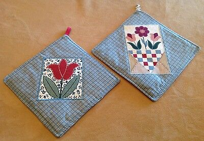 Two Patchwork Quilt Pot Holders, Tulips, Flowers, Blue, Brick Red