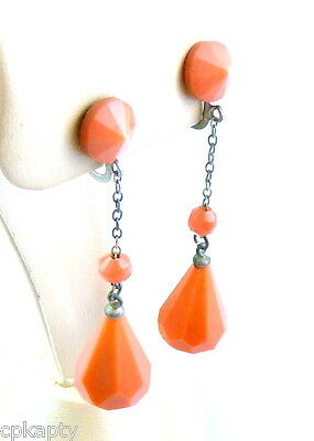 Vintage 1930s Art Deco Silvertone & Coral Galalith Celluloid Dangling EARRINGS