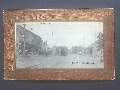 IL CHERRY VALLEY ILLINOIS postcard c1910 bordered postcard.. remember a trolley?