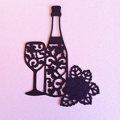 8 X Champagne/wine Bottle Glass & Rose Die Cut Shapes-Wedding Anniversary  Etc