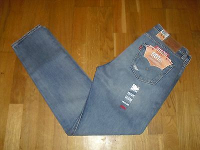 """Mens Levi 501 Ct Red Tab Customized & Tapered Blue Jeans W34 L34 Long 34"""" Bnwt"""