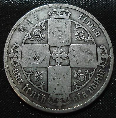 1885 mdccclxxv  VICTORIA GOTHIC FLORIN LOWER GRADE COLLECTABLE COIN