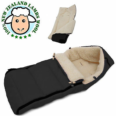Woolibaloo Lambswool/Sheepskin Baby Footmuff in BLACK  fits Bugaboo Cameleon 1/2