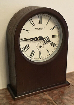 Brown Wooden Barrister Style Mantel Clock Silent Sweep Second Hand Inset Dial