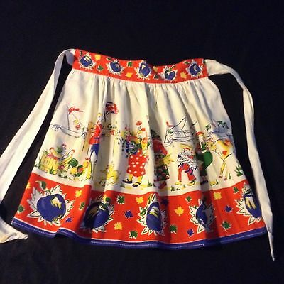 Vtg 40's APRON celebrating THE COUNTY FAIR Chickens, Apples, Mountie, UNION JACK
