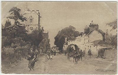 Horse Postcard - COURT-Horse and Wagon in Rural Street - George Whyatt
