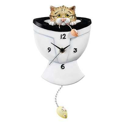 Comic & Curious Cats Down The Pan Cat Wall Clock New Boxed A23702