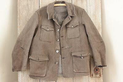 Vintage Workwear Coat Jacket  French hunting clothing work wear animal buttons