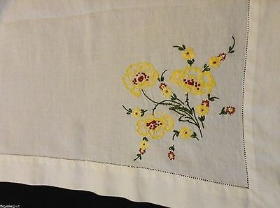 Hand-embroidered PANSIES & FLOWERS Linen TABLECLOTH Openwork Hem 43x43 inch