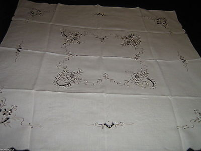 "MADEIRA LINEN TEACLOTH TABLECLOTH Hand Embroidery & Openwork 32.5X34"" Unused"
