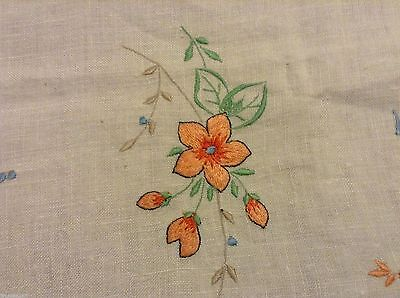 """Nice LINEN TABLECLOTH TEACLOTH Embroidered & Openworked FLORAL 34.5x34"""""""
