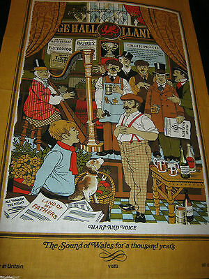 NICE Souvenir TEA TOWEL SCENES of WALES - Harp & Voice NWOT 30.5X20.5inch COTTON