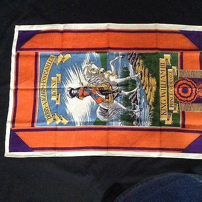 "NOS Pure IRISH LINEN TEA TOWEL BY MAYLIN 32x21.5"" KING WM 3rd KING of ORANGE"