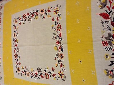 NWOT Floral TABLECLOTH 47 in sq COTTON Red Yellow Grey Black & White Background