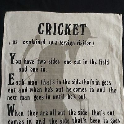 "NWOT Irish Linen CRICKET Tea Towel 29x17"" (as explained to a foreign visitor)"