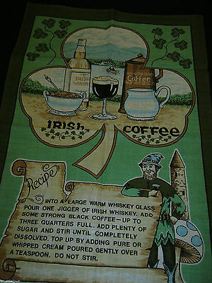 NWOT Souvenir IRISH LINEN TEA TOWEL 29.5X18in Made by FINGAL Irish Coffee Recipe